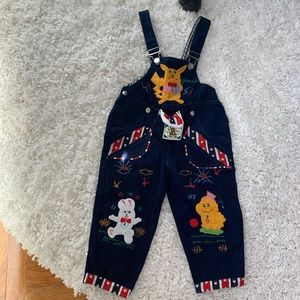 Boys Vintage Denim Cartoon Overalls with Pouch